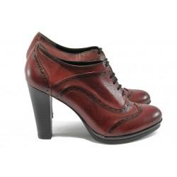 Дамски обувки на висок ток от естествена кожа МИ 4025 бордо