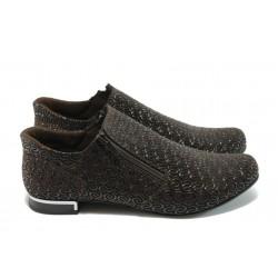 Дамски спортно-елегантни обувки от естествена кожа МИ 300-257 кафяви