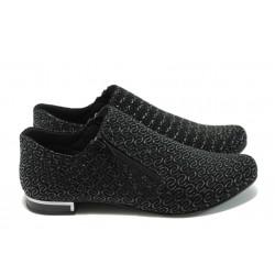 Дамски спортно-елегантни обувки от естествена кожа МИ 300-257 черни