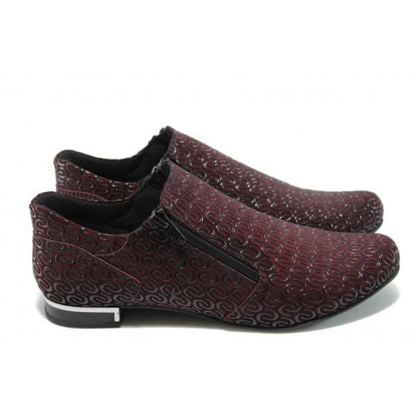 Дамски спортно-елегантни обувки от естествена кожа МИ 300-257 бордо
