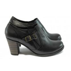 Дамски елегантни обувки от естествена кожа МИ 6065 черни
