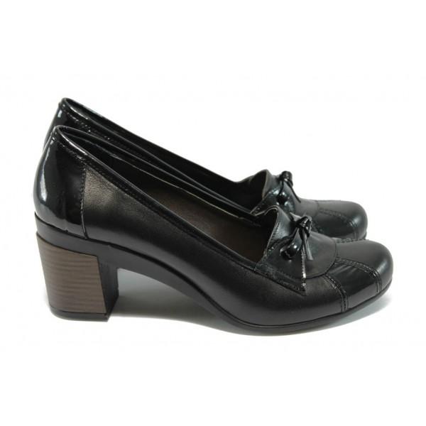 Дамски обувки от естествена кожа на ток МИ 1007 черни
