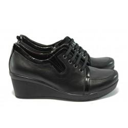 Дамски обувки на платформа от естествена кожа МИ 1005 черни