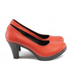 Анатомични дамски обувки от естествена кожа НЛ 108-6843 червена кожа