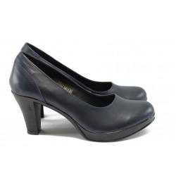 Анатомични дамски обувки от естествена кожа НЛ 108-6843 синя кожа