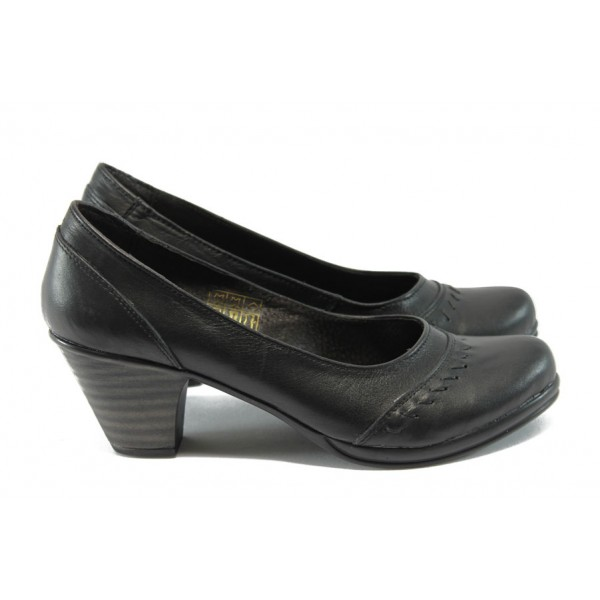Анатомични обувки от естествена кожа на нисък ток НЛ 108-3696 черни