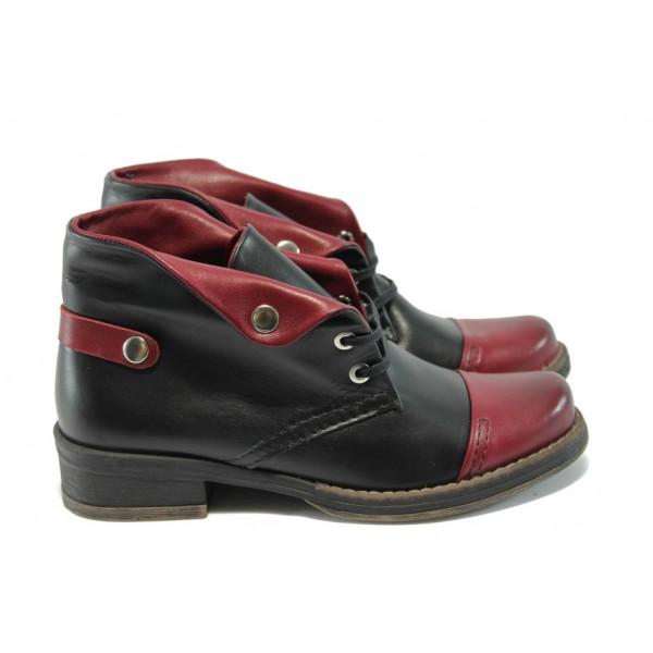 Анатомични български дамски обувки /боти/ ГА 781-16 черно-бордо