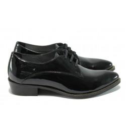 Анатомични български дамски обувки от естествена кожа-лак ГА 790-25 черна кожа-лак