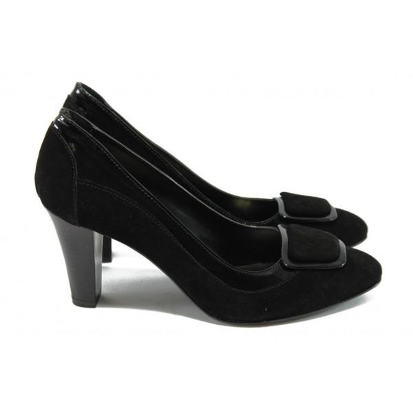 Дамски обувки на ток от естествена кожа МИ 106-4315 черен