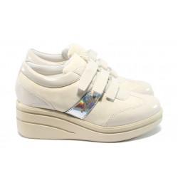 Дамски обувки на платформа с лепенки МИ 211 бежов