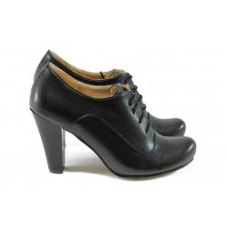Дамски елегантни обувки на висок ток ЕО 14020 черна кожа