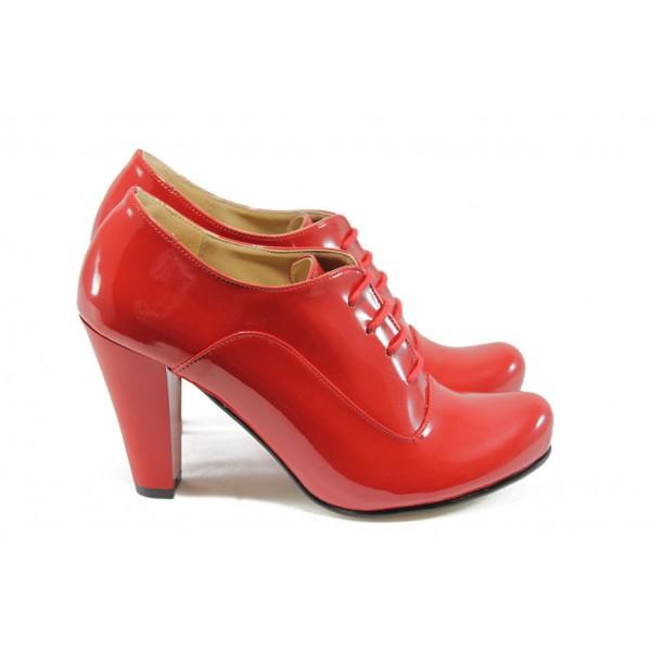 Дамски елегантни обувки на висок ток ЕО 14020 червен лак