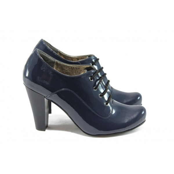 Дамски елегантни обувки на висок ток ЕО 14020 син лак