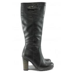 Дамски ботуши на висок ток от естествена кожа МИ 180 черни