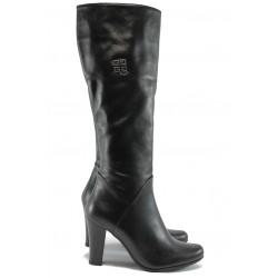 Дамски елегантни ботуши от естествена кожа АК 1614 черен