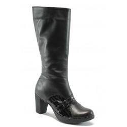 Български дамски ботуши от естествена кожа НЛ 268-7802 черен