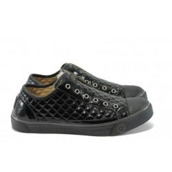 Дамски спортни обувки от естествена кожа МИ 333 черен