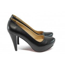 Дамски обувки на висок ток ЕО 200 черна кожа
