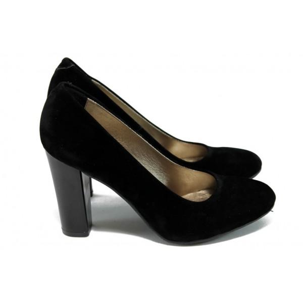 Елегантни дамски обувки на висок ток МИ 78 черен велур
