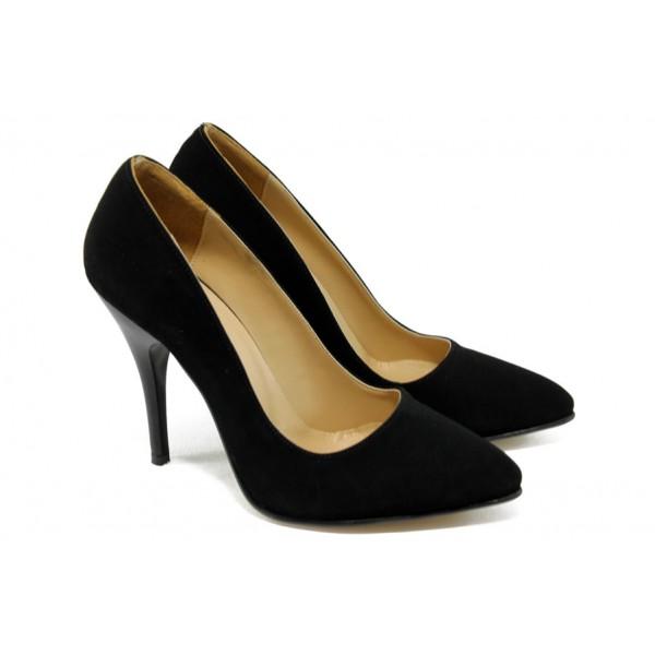 Елегантни дамски обувки на висок ток ЕО 25002 черен велур