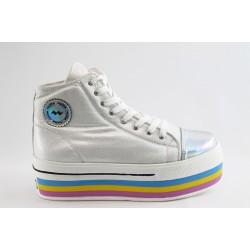 Дамски цветни обувки на платформа МИ 409бял