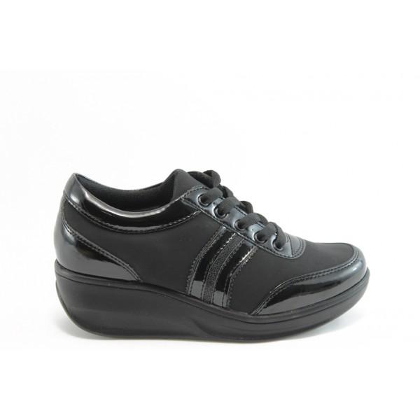 Дамски спортни обувки на платформа Jump 7802 черно