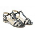 Дамски сандали на нисък ток ИО 1458 черно