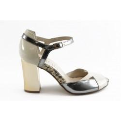 Дамски сандали на висок ток ИО 1470 бежово-сребро