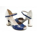 Дамски сандали на висок ток ИО 1457 син
