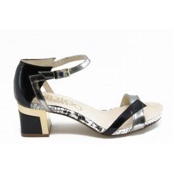Дамски сандали на нисък ток ИО 1463 черно-сребро