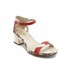 Дамски сандали на нисък ток ИО 1463 бежово-червено
