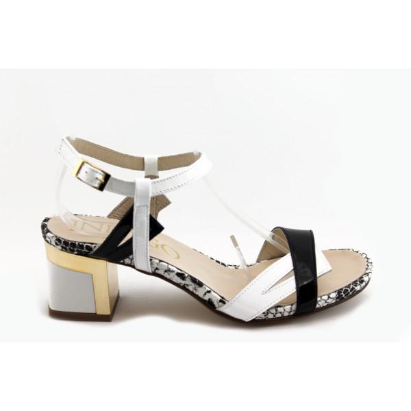 Дамски сандали на нисък ток ИО 1459 черно-бял