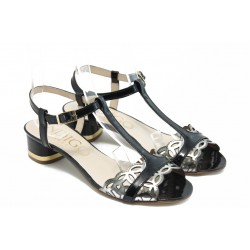 Дамски сандали на нисък ток ИО 1466 черно-сребро