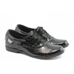 Анатомични спортно - елегантни обувки НЛ 163 черен лак
