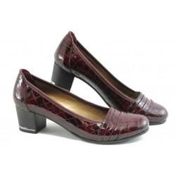 Дамски обувки на среден ток МИ 1401 бордо