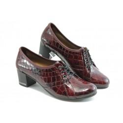 Дамски обувки с връзки на ток МИ 1402 бордо