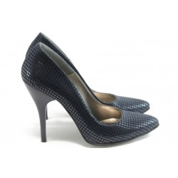 Дамски елегантни обувки на висок ток ЕО 25002 синя