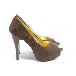Елегантни дамски обувки на висок ток МИ 1701 бакър