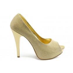 Елегантни дамски обувки на висок ток МИ 1701 златно