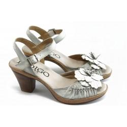 Дамски анатомични сандали на ток ИО 1384 бяло