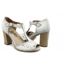 Дамски сандали на висок ток ИО 1485 бяло