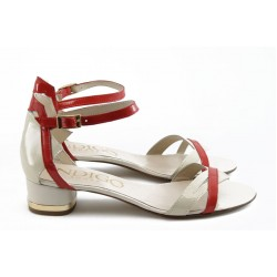 Дамски сандали на нисък ток ИО 1464 бежово - червено