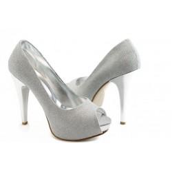 Елегантни дамски обувки на висок ток МИ 1701 сиво