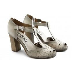 Дамски сандали на висок ток ИО 1485 бежово