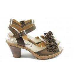 Дамски анатомични сандали на ток ИО 1482 кафе