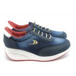 Дамски спортни обувки на платформа Jump 7722 сини