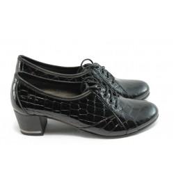 Дамски обувки с връзки на ток МИ 1402 черно
