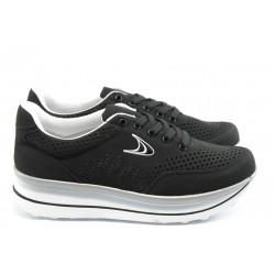 Спортни дамски обувки на платформа Jump 7726 черни