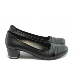 Дамски обувки на среден ток МИ 1401 черна кожа