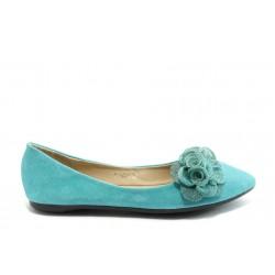 Дамски балеринки с прикачено цвете ПИ 1230 сини